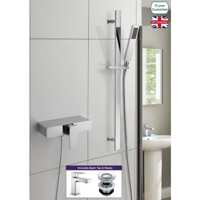 Bathroom Slider Rail Kit & Concealed Thermostatic Shower Valve Mixer