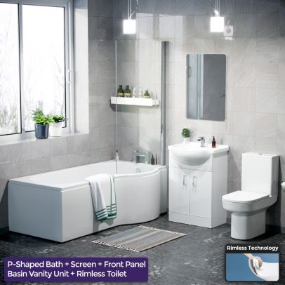 Warton P-Shaped Right Handed Bath, 550mm Vanity Basin Unit, WC Unit and Rimless Toilet Suite White
