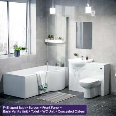 Warton P-Shaped Right Handed Bath, 550mm Vanity Basin Unit, WC Unit and Curved BTW Toilet Suite White