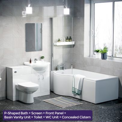 Warton P-Shaped Left Handed Bath, 550mm Vanity Basin Unit, WC Unit and Curved BTW Toilet Suite White