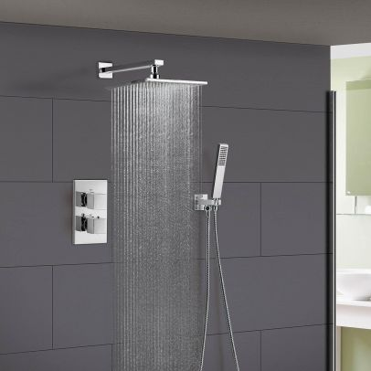 Temelis Square Concealed Thermostatic Shower Mixer, Shower Head & Handset