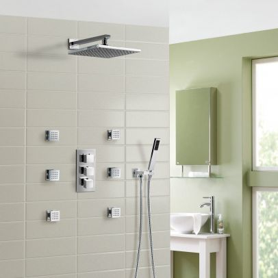 OLIVE 3 WAY SQUARE CONCEALED THERMOSTATIC MIXER VALVE HAND HELD SHOWER BODY JETS
