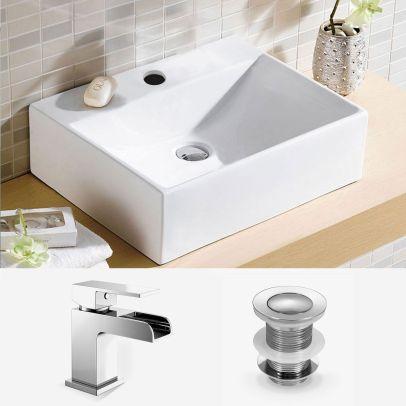 Bathroom 375 x 270mm Countertop Cloakroom Basin With Waterfall Mono Mixer Tap