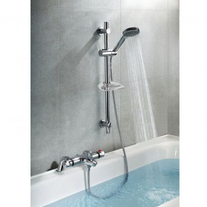 Bexley Thermostatic Deck Mounted Valve Bath Shower Mixer Riser Kit / 3 Mode Handset