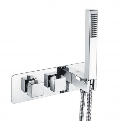 2 Dial 2 Way Square Thermostatic Concealed Valve Diverter & Shower Handset & Bath Filler Waste