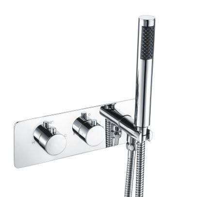 2 Dial 2 Way Round Thermostatic Concealed Valve Diverter & Shower Handset & Bath Filler Waste