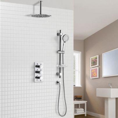 Calla 2 Way Slim Round Ceiling Thermostatic Concealed Bathroom Shower Rail Head