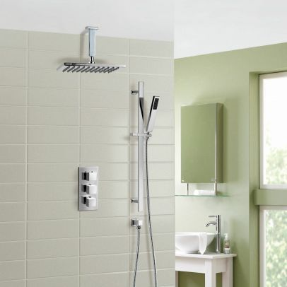 Rose Ceiling Rain Shower Head with Handset 2 Way Concealed Thermostatic Mixer