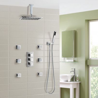Olive 3 Way Square Concealed Thermostatic Mixer Valve Hand Held Body Jet Shower