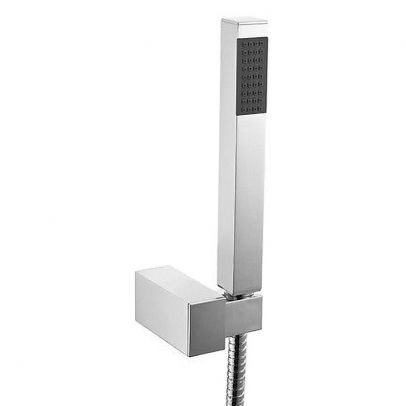 Bathroom Modern Chrome Shower slim Handset With Flexible Hose & Wall Bracket Holder