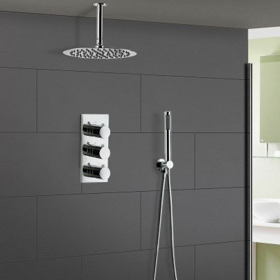 Lilly 2 Way Round Concealed Thermostatic Shower Mixer, Slim Shower Head & Handset