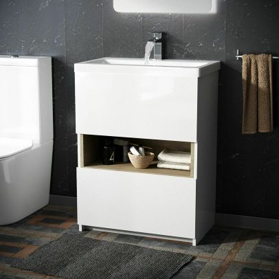 Omottee Cloakroom Floor Standing Vanity Unit With Single Drawer Storage Cabinet