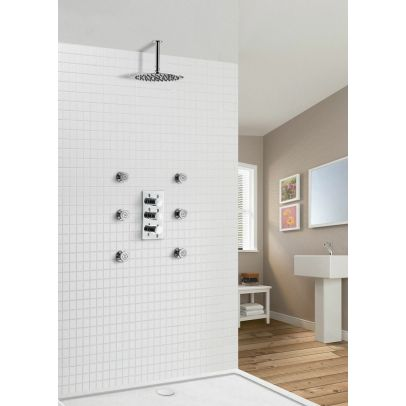 Calla Chrome Round 2 Way Slim Thermostatic Concealed Bathroom Shower Body Jets
