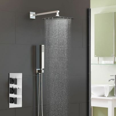 Rose 2 Way Concealed Thermostatic Shower Mixer Valve 200 Slim Overhead - Chrome