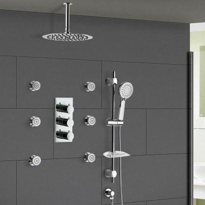 Flora 3 Dial 3 Way Round Set - Slim Shower Head, Handset & Body Jets