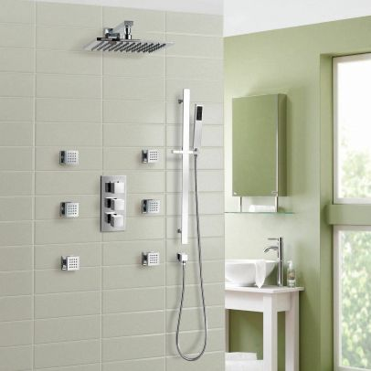 Olive Square 3 Way Concealed Thermostatic Shower Mixer Set - Shower Head, Handset & Body Jets