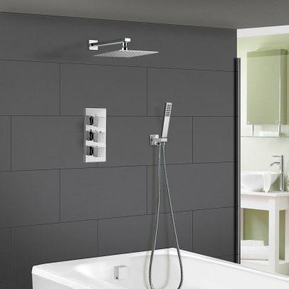 Olive Square 3 Way Concealed Thermostatic Shower Mixer Set - Shower Head, Handset, Bath Filler & Waste