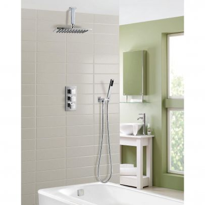 OLIVE SQUARE 3 WAY CONCEALED THERMOSTATIC MIXER VALVE HAND HELD BATH SHOWER SET