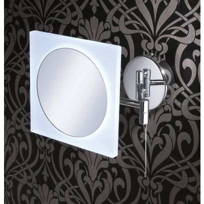 Square Led Magnifying Mirror Wall Mounted With Multi Positional Arm