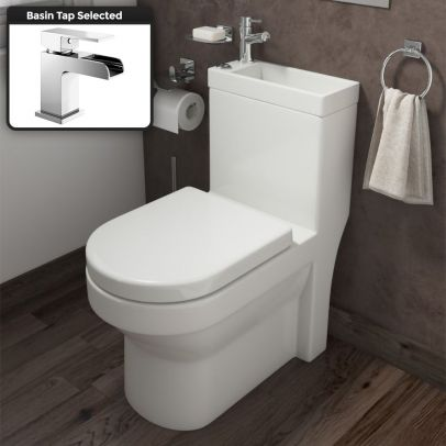 2 In 1 Compact Close Coupled Toilet and Basin Combo Space Saver Unit And Waterfall Mono Mixer Tap