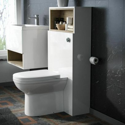 Omotee White Modern WC Back To Wall Toilet 500 mm Cabinet Unit and Concealed Cisten