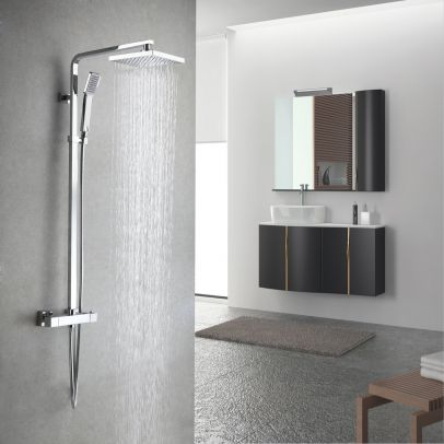 Amana Modern Bathroom Square Chrome Dual Control Thermostatic Shower Valve