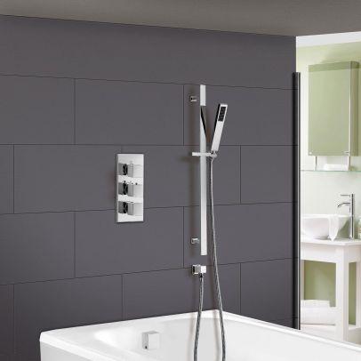 Cameo Concealed Thermostatic Shower Mixer Handset Slider Rail & Bath Filler