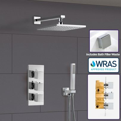 Olive Square 3 Way Triple Thermostatic Valve with Round Shower Head + Handset