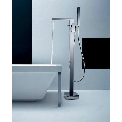 Brayton Square Freestanding Bath Shower Mixer And Basin Sink Mixer Tap With Waste