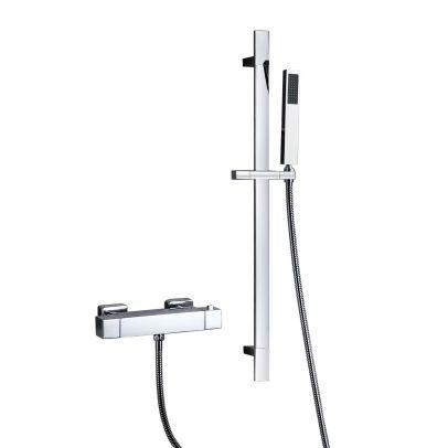 Alisson Bathroom Thermostatic Chrome Bar Mixer Valve & Slider Rail Shower Handset