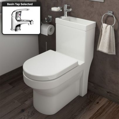 2 In 1 Compact Close Coupled Toilet and Basin Combo Space Saver Unit with Mono Mixer Tap