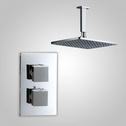 Sienna 2 Dial 1 Way Square Set - Ceiling Head