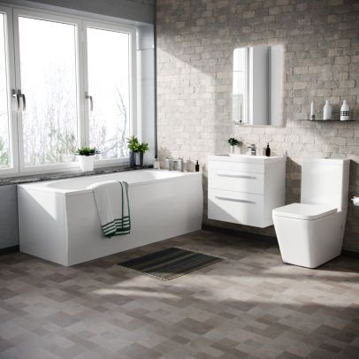 Cann 600mm Wall Hung 2 Drawer Basin Vanity, Close Coupled Toilet and Round Bath