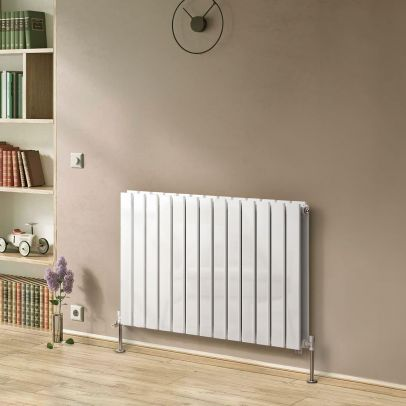 Atlanta 600 X 984mm Double Column Flat Panel White Horizontal Designer Radiator