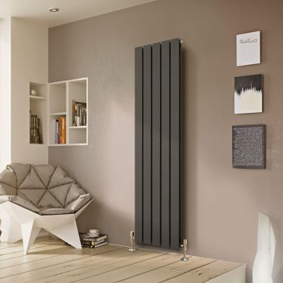 Atlanta 1600 X 370mm Double Column Flat Panel Anthracite Vertical Designer Radiator
