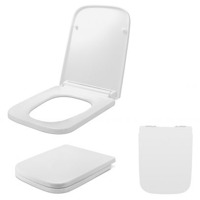 Desner Modern Top Fixing D Shaped White Soft Close Toilet Seat Replacement