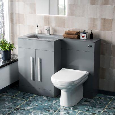 Desford Left Hand 600mm Vanity Unit, Basin, WC Unit And BTW Toilet Grey