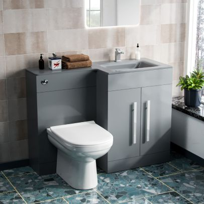 Desford Right Hand 600mm Vanity Unit, Basin, WC Unit And BTW Toilet Grey