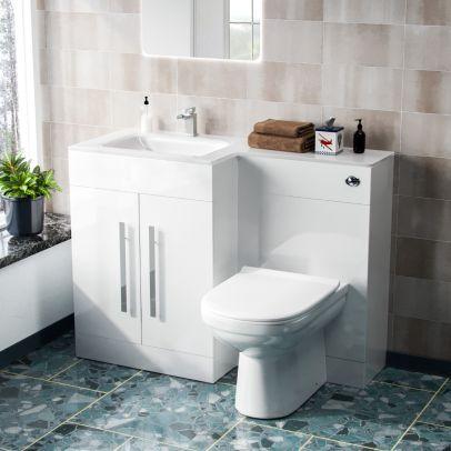 Desford Left Hand 600mm Vanity Unit, Basin, WC Unit And BTW Toilet White
