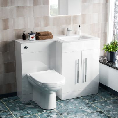 Desford Right Hand 600mm Vanity Unit, Basin, WC Unit And BTW Toilet White
