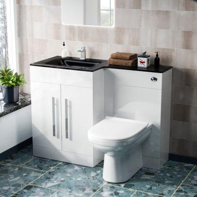 Desford Left Hand 600mm Vanity Unit, Black Basin, WC Unit And BTW Toilet White