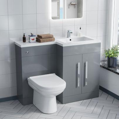Aric RH Light Grey Vanity Sink and Debra BTW Toilet Combo Unit
