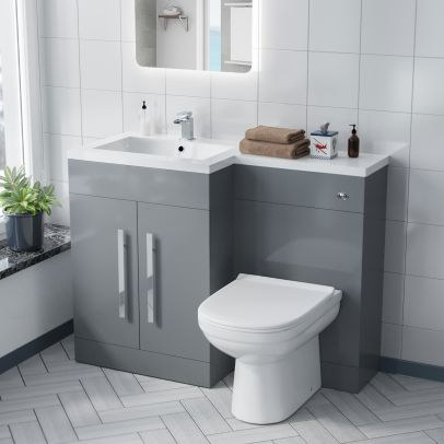Aric LH Light Grey Vanity Sink and Debra BTW Toilet Combo Unit
