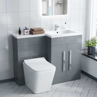 Aric 1100MM Light Grey Right Hand Vanity Unit with BTW Toilet, Basin and Unit