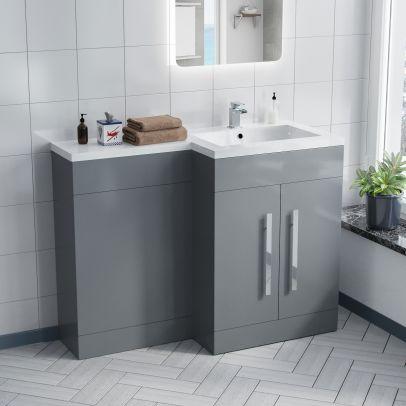Aric 1100mm RH Light Grey Bathroom Basin Combination Vanity Unit