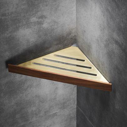 Abloh Luxury Corner Shelf Wooden Walnut & Gold