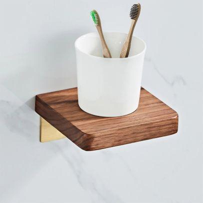 Abloh  Luxury Ceramic Toothbrush Holder with Shelf Wooden Walnut & Brushed Gold