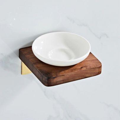 Abloh Luxury Ceramic Soap dish with Shelf Wooden Walnut & Brushed Gold
