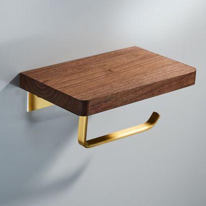 Abloh Luxury Single Toilet Roll Holder Wooden Walnut & Gold