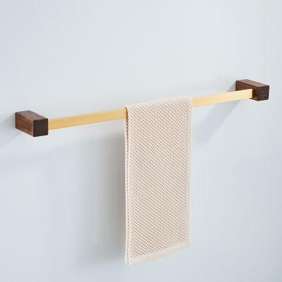 Abloh Luxury Towel Rail Wooden Walnut & Gold Bathroom